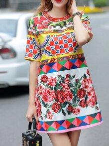 Multicolor Rose Print Shift Dress