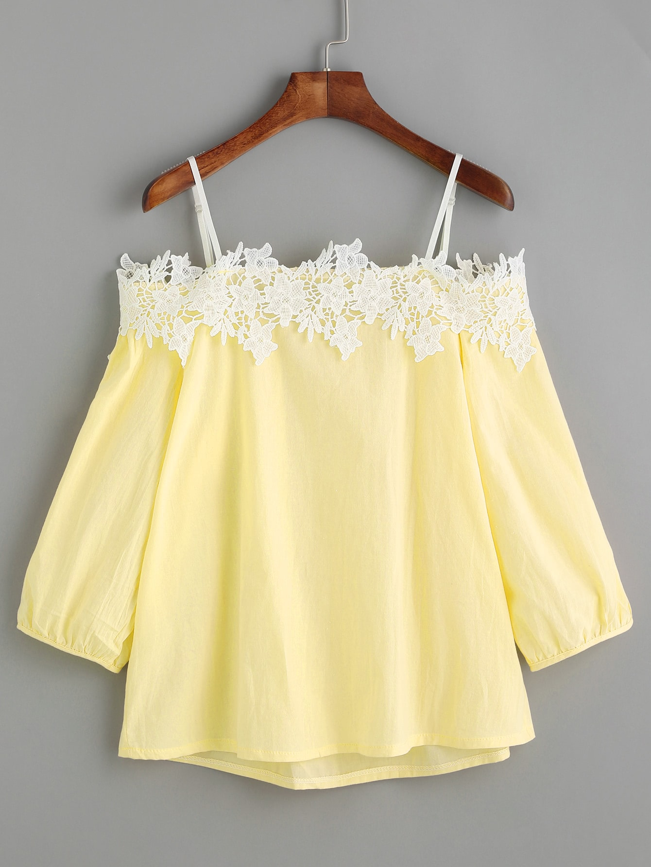 Yellow Cold Shoulder Appliques Top blouse170222103