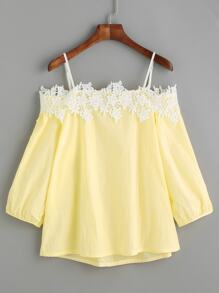 Yellow Cold Shoulder Appliques Top