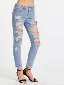Blue Bleach Wash Distressed Jeans