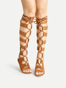 Sandales gladiateurs à lacets à genou haut