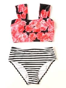 Sets de bikini de rayas con estampado floral
