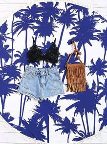 Blue Coconut Tree Print Fringe Trim Round Beach Blanket