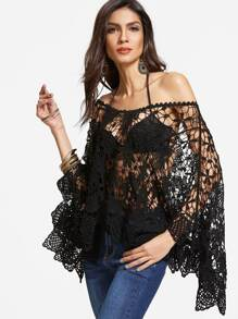 Black Boat Neck Kimono Sleeve Crochet Cover Up Top