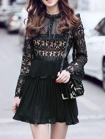 Black Tie Neck Crochet Hollow Out Pleated Dress