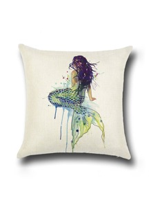Beige Mermaid Cuscino Stampa in lino