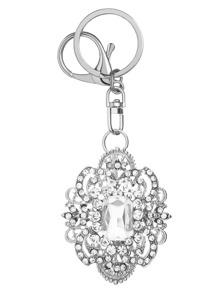 Silver Crystal Inlay Rhinestone Flower Keychain