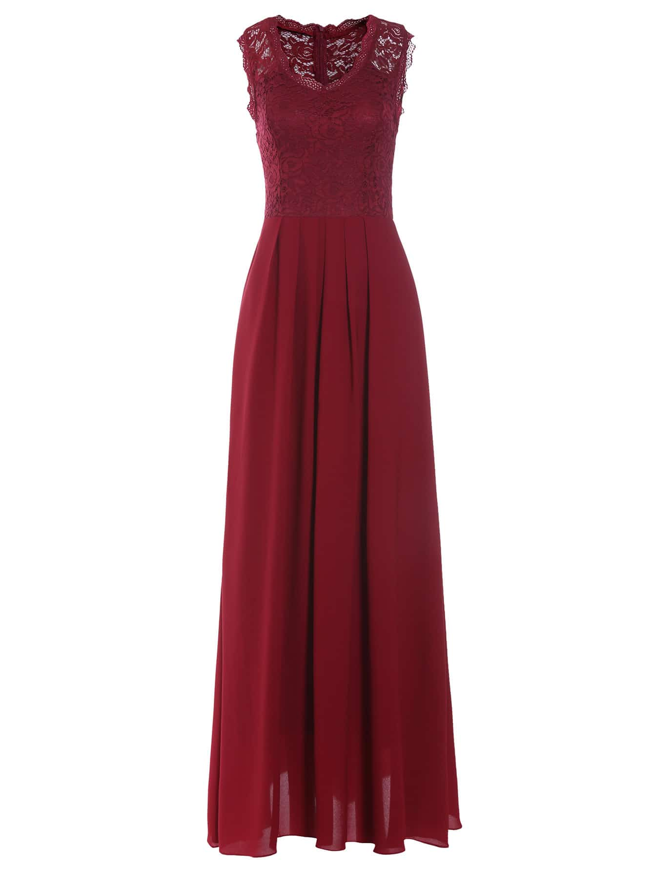 Burgundy Lace Overlay Maxi Dress Shein Sheinside