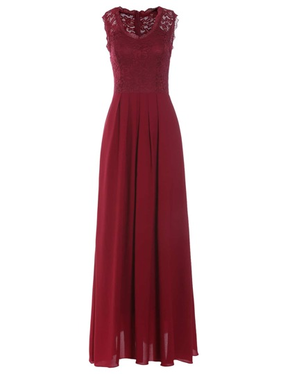 Burgundy Lace Overlay Maxi Dress