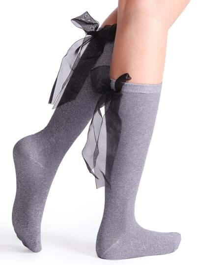 Grey Bow Tie Back Socks