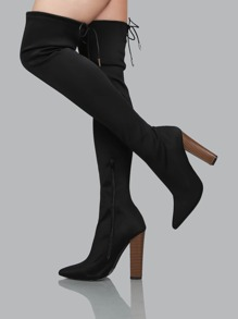 Fitted Pointed Toe Stacked Thigh Boots BLACK