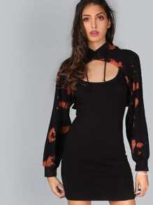 2 In 1 Crop Hoodie Dress Set BLACK
