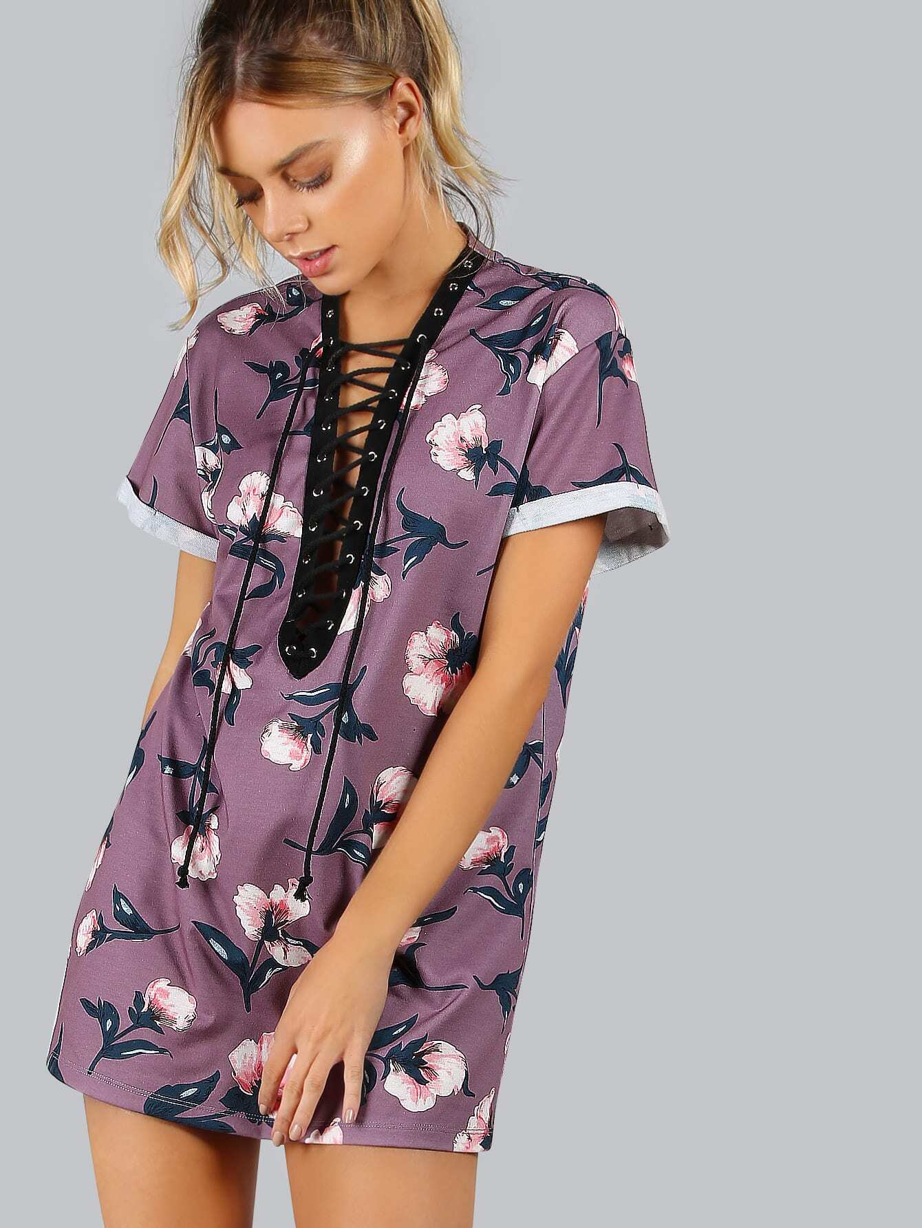 Purple Contrast Plunge V Lace Up Tee Dress