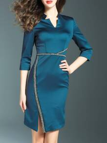 Blue V Neck Beading Split Dress