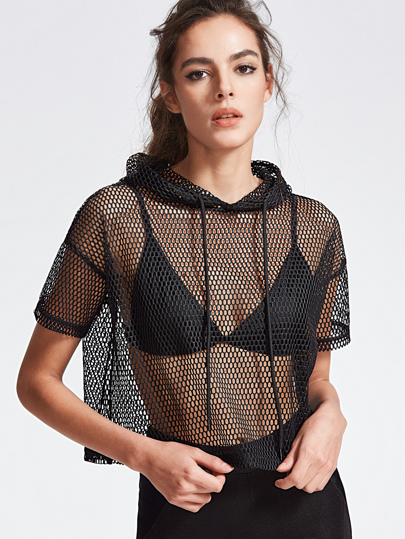 Drop Shoulder Crop Fishnet Hooded T-shirt