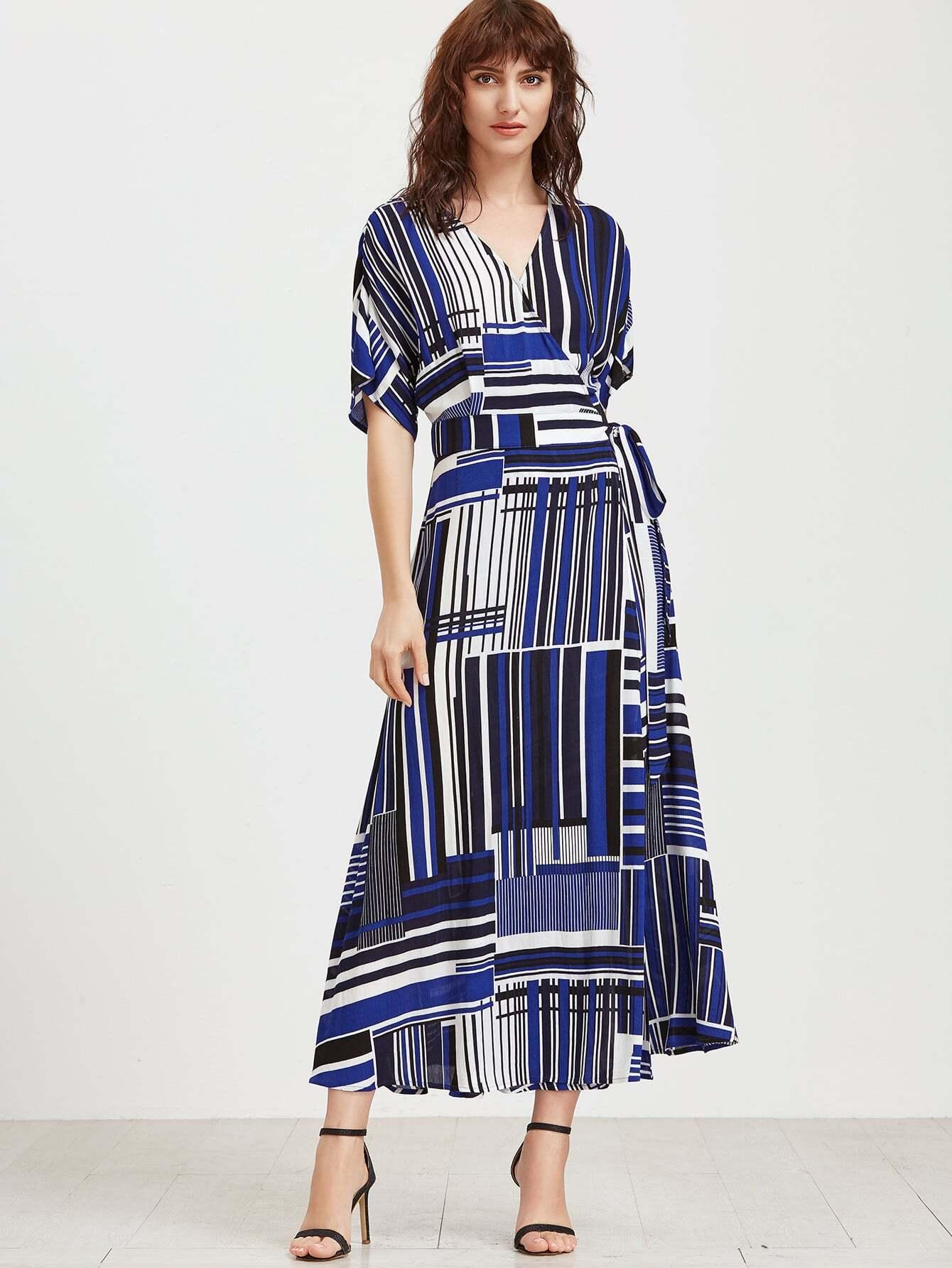 Фото Mixed Striped Belted Wrap Dress. Купить с доставкой