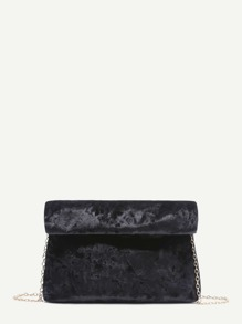 Black Foldover Velvet Clutch Bag With Chain