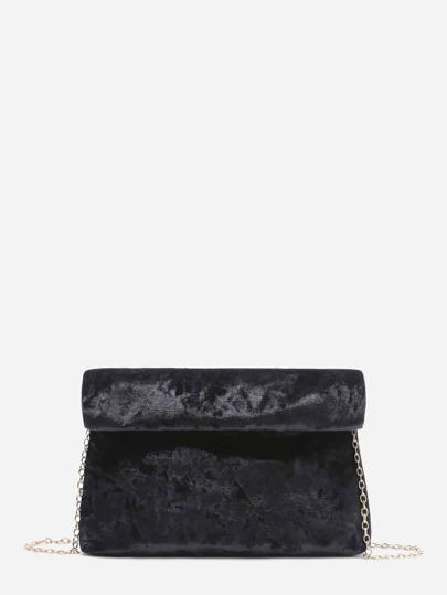 Black Foldover Velvet Clutch Bag With Chain