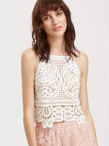 White Hollow Out Embroidered Lace Cami Top