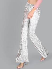 Crushed Velvet Bell Bottom Pants SILVER