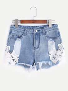 shorts in denim con patch di pizzo - Blu