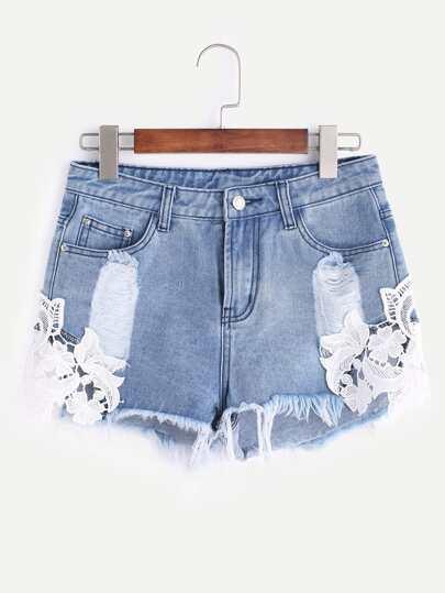 Shorts en denim con parche de encaje - azul
