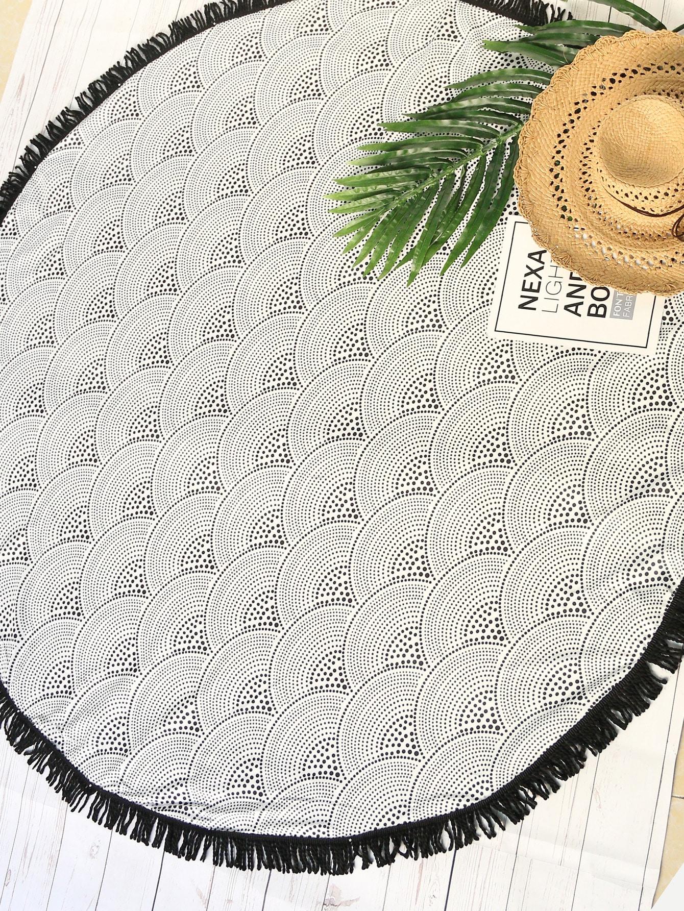 Фото Seamless Wave Pattern Fringe Round Beach Blanket. Купить с доставкой
