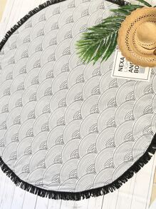Seamless Wave Pattern Fringe Round Beach Blanket