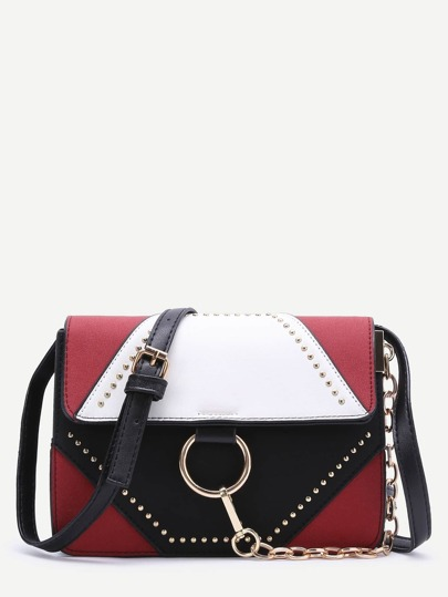 Color Block Studded Chain Detail Shoulder Bag