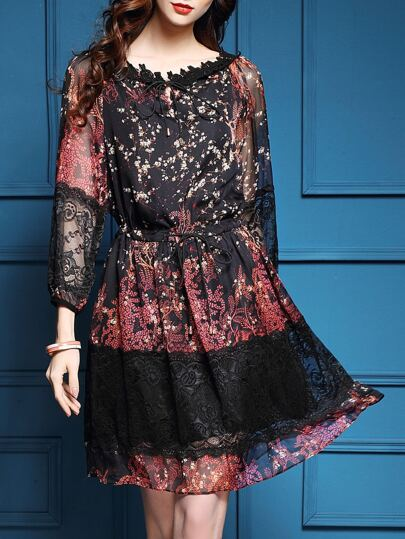 Red Tie Neck Drawstring Floral Contrast Lace Dress