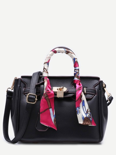 Black Pu Satchel Bag With Adjustable Strap