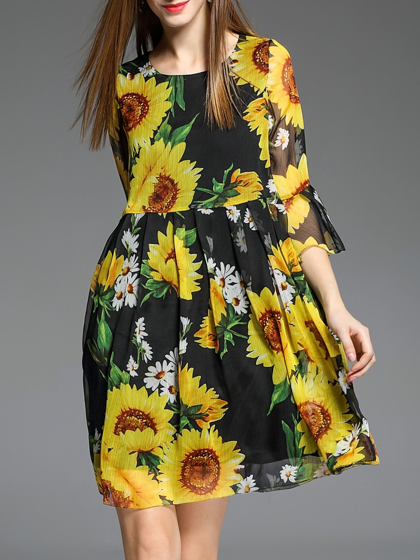 Фото Black Sunflowers Print A-Line Dress. Купить с доставкой