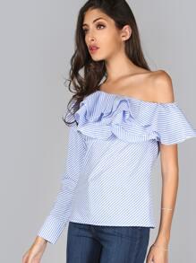 Striped One Shoulder Bardot Top BLUE MULTI