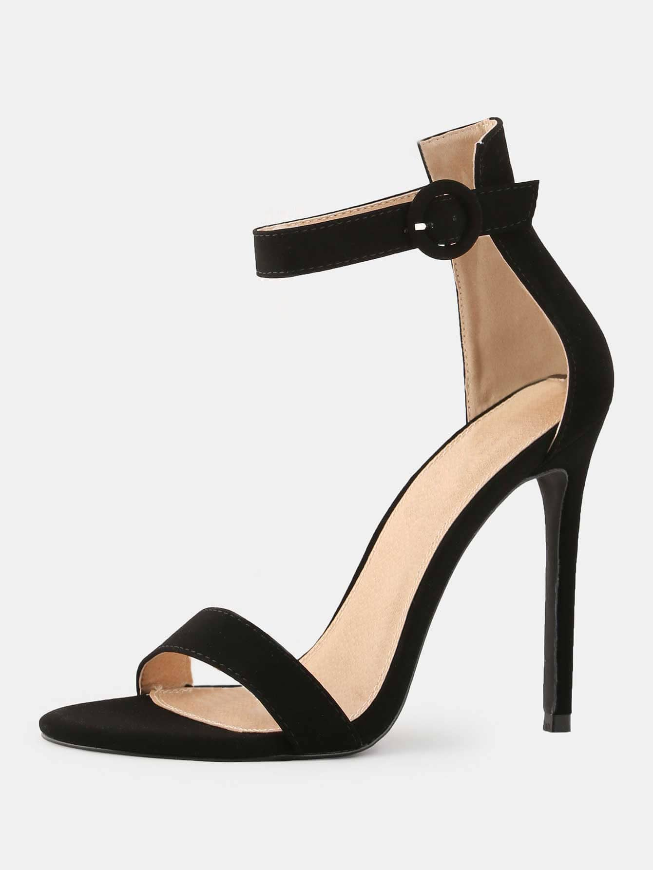 Stiletto Open Toe High Heels BLACK -SheIn(Sheinside)