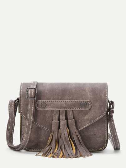 Coffee Faux Leather Tassel Flap Bag