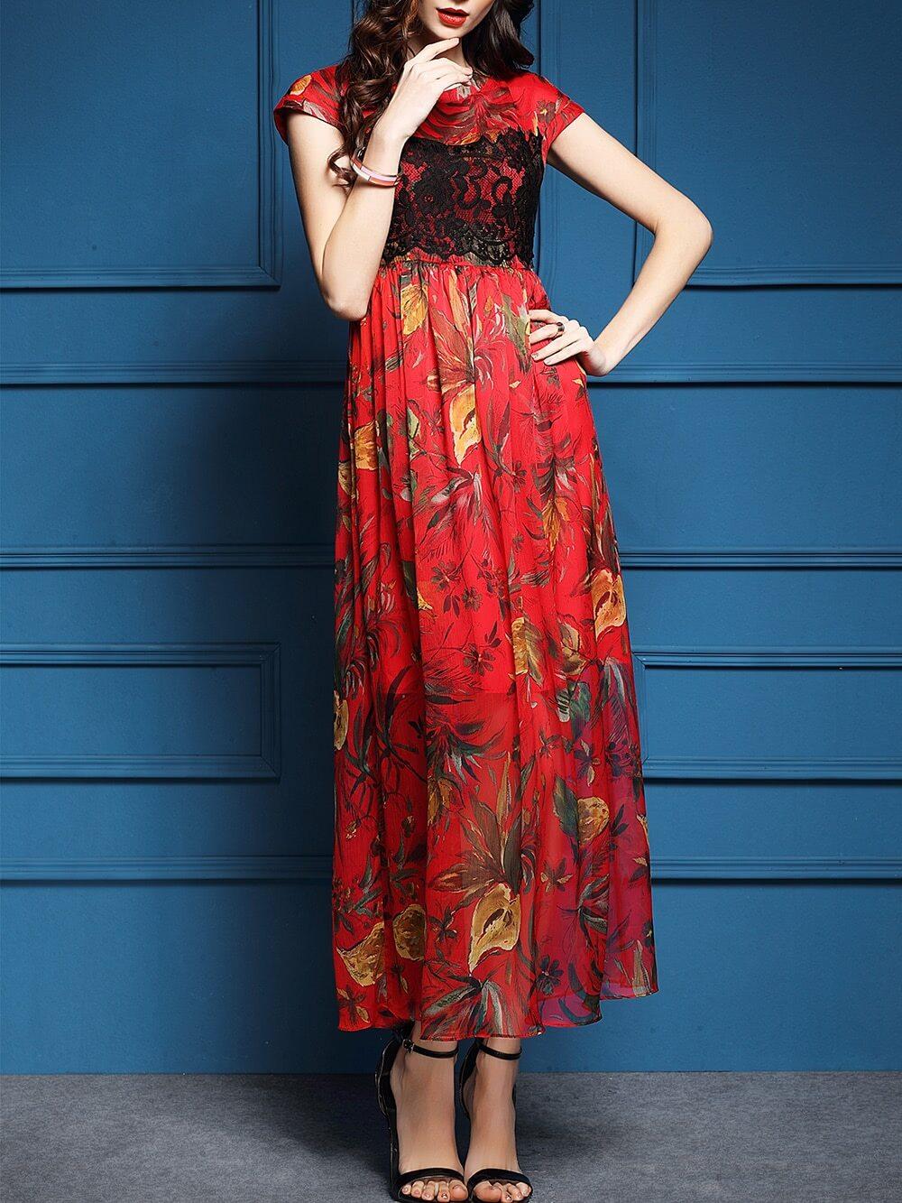 Фото Red Contrast Lace Print Maxi Dress. Купить с доставкой