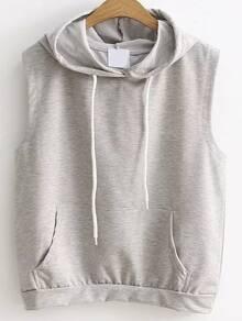Grey Drawstring Hooded Vest With Pocket