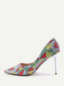 Multicolor Print Pointed Toe Stiletto Heels
