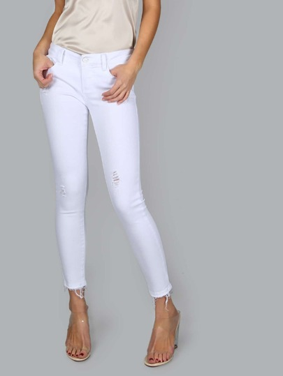 Cropped Raw Hem Jeans WHITE