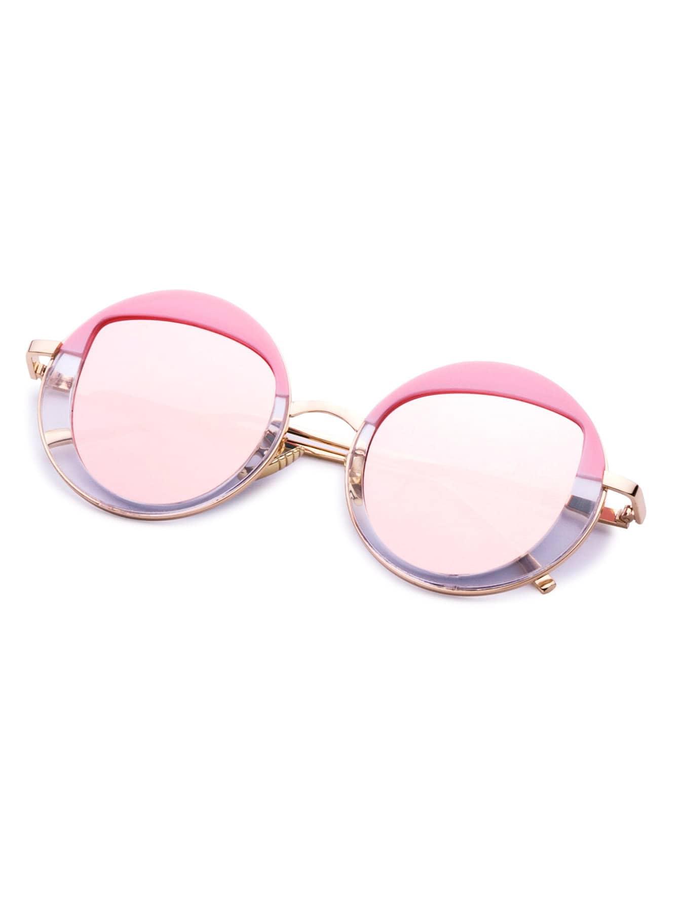 Pink And Gold Frame Round Design Sunglasses -SheIn(Sheinside)