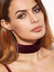 Purple Velvet Wide Choker Necklace