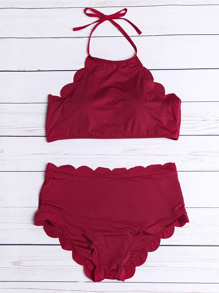 Scalloped Trim Halter Bikini Set