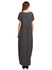 dark grey rolledcuff pockets split maxi dress shein