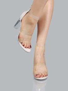 Triple Clear Strap Perspex Heels NUDE