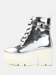 Metallic Lug Sole Booties SILVER