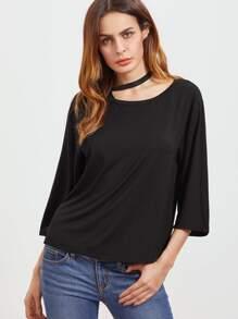 asymmetrische halter neck Shirt mit 3/4 Ärmel Öffnung - schwarz