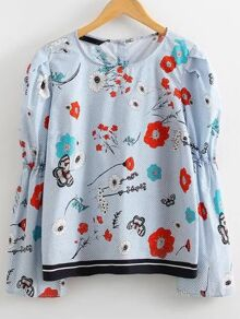Flower Print Single Breasted Back Blouse