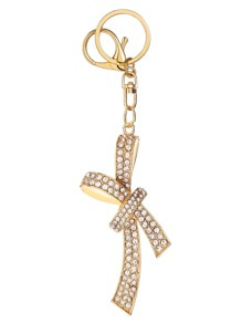 Argent strass Encrusted Bow Keychain