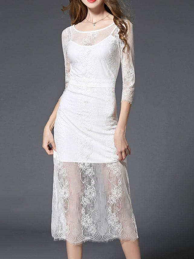 Фото White Sheer Backless Lace Sexy Dress. Купить с доставкой