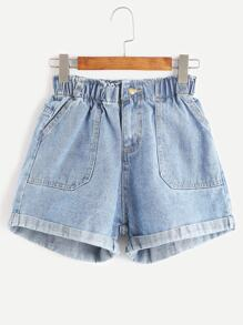 Elastic Waist Rolled Hem Denim Shorts